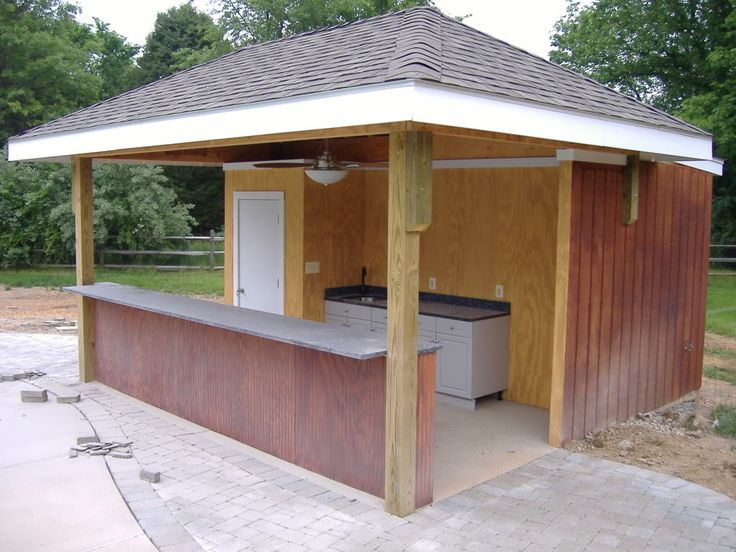 Pool house with open bar  Gardening  Pinterest  Sheds
