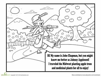 Johnny appleseed, Coloring and Coloring pages on Pinterest