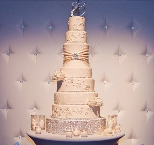 tall chic white wedding cake with bling  Wedding Cakes  Pinterest  Wedding Interview and Cakes