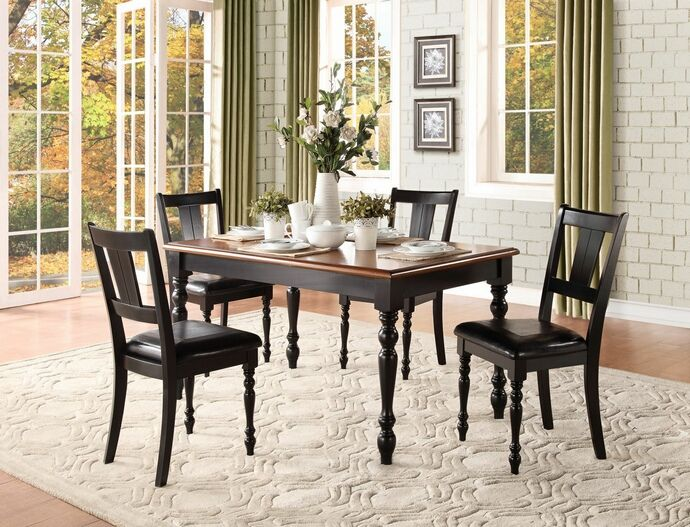 5 Pc Laurel Grove Collection Two Tone Black And Cherry