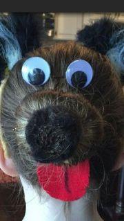 dog bun love crazy hair day