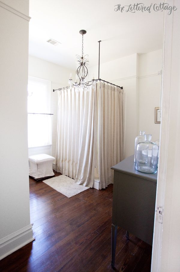 Bathroom  Old House  Corner Shower  Curtain  Gray