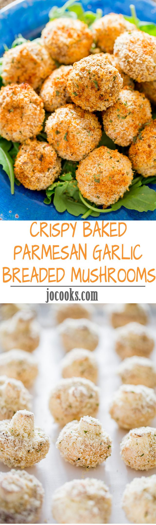 Crispy Baked Parmesan Garlic Breaded Mushrooms – enjoy this restaurant favorite without all the fat an