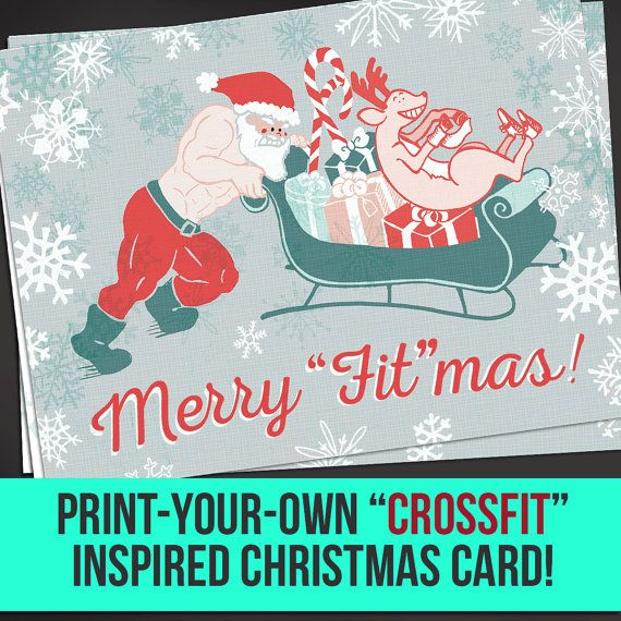 Crossfit Inspired Fitness Christmas Card Digital Download