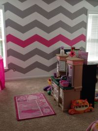 Chevron wall for Mak's room. But a little thicker stripes