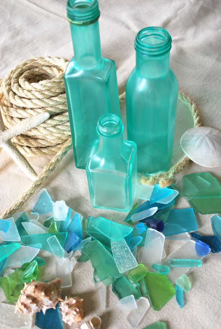 Make your own frosted beach glass out of recyled bottles … Tutorial