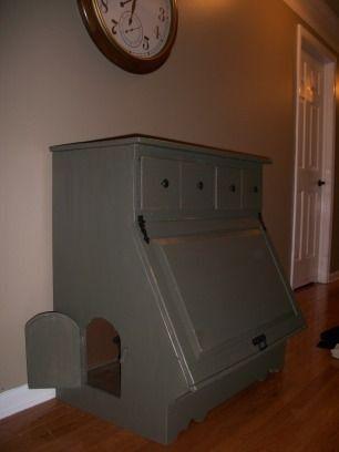 furniture to hide cat litter box  Hidden kitty litter box