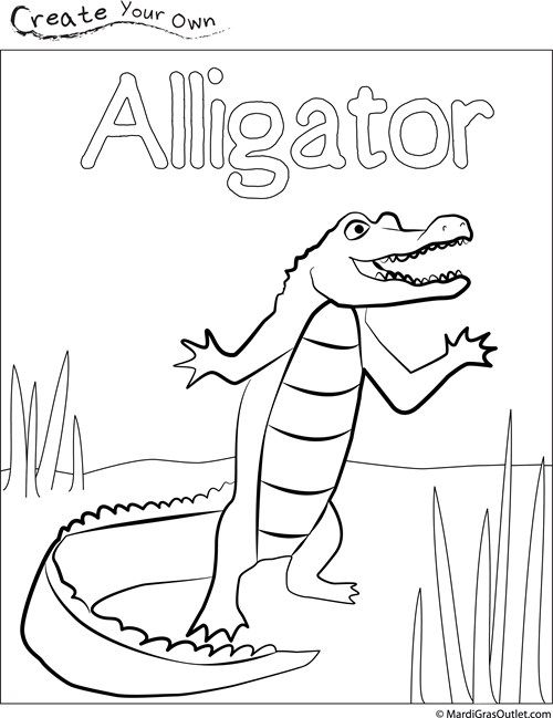 Party Ideas by Mardi Gras Outlet: Alligator Coloring Page