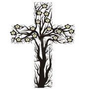 tim floral christian cross tree
