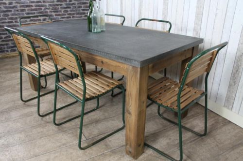 Industrial Style Zinc Top Dining Table Large Rustic Metal Top Table 18m Zinc Table
