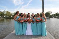 David's Bridal Long Sheer Chiffon Dress with Beaded ...