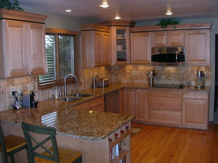 Remodeled Kitchen in natural maple cabinets  Kitchens