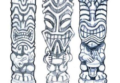 Hawaiian Tiki Tattoo Designs