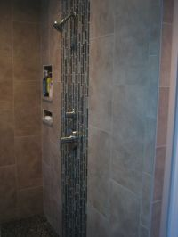 Walk-In Tile Shower Designs with glass tile accents ...