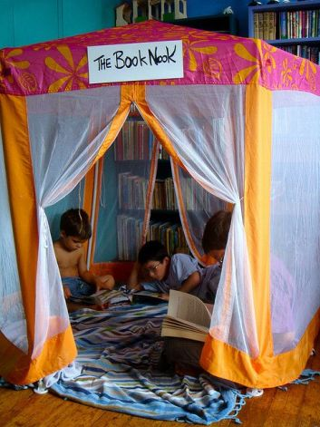 Encourage your kids to read by making a fun tent for it. =)