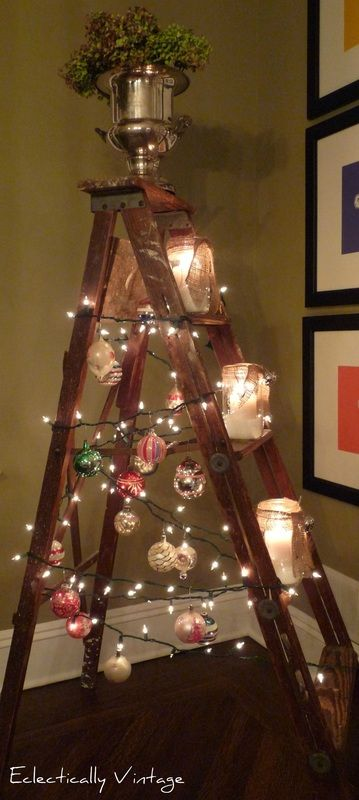 I love this…now, I just need to find a ladder, some Mason jars, some lights, some Christmas balls, and an urn with some foliage!