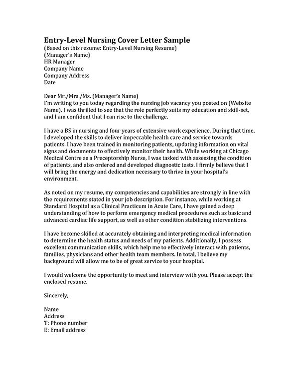 Learn how to write a nursing cover letter inside We have entrylevel and professional samples