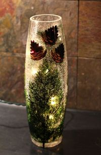 Stony Creek Lighted Crackle Glass Jar with Pinecones - 12 ...