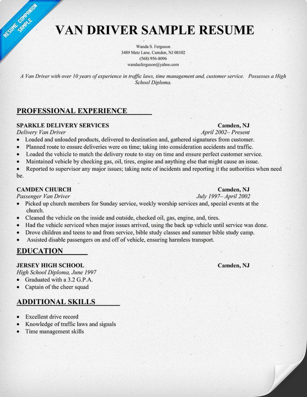Van Driver Resume Sample resumecompanioncom  Resume