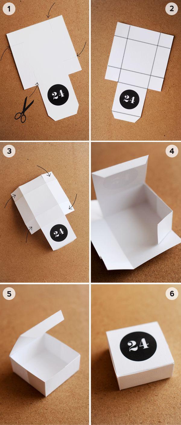 adventskalender basteln ideen papierboxen ausschneiden schwarz wei