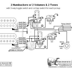 Humbucker Wiring Diagrams 5000 Watt Amplifier Circuit Diagram Guitar 2 Humbuckers/3-way Toggle Switch/2 Volumes/2 Tones/individual Coil Taps ...