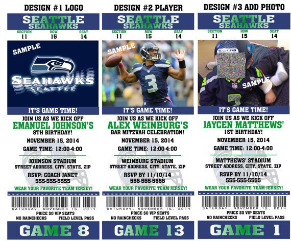 Printable Birthday Party Invitation Card Seattle Seahawks