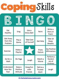 Coping Skills Bingo Game For Kids And Teens
