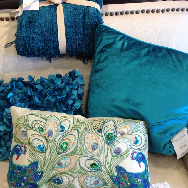 Bedroom pillowslove this peacock blue color  My