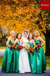 Emerald Green Bridesmaids dresses, fall wedding, fall