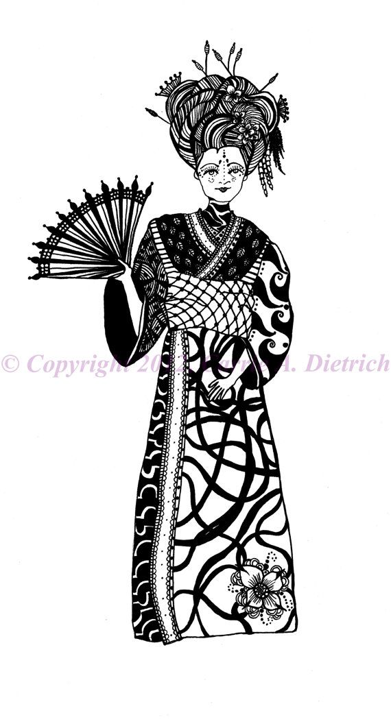 Black and White Art Pen and Ink Art Woman Geisha Signed 8