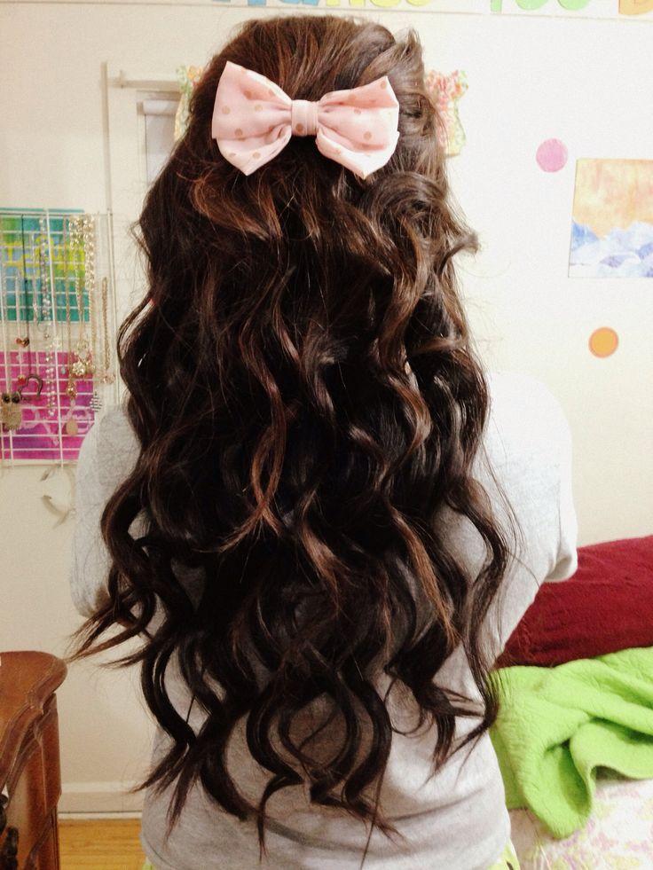 Hairstyles Curly Hair Bow Bows Long Darkbrown