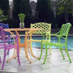 Green Metal Bistro Chairs Wedding Tables And Cross Weave Patio Set: Bright Furniture That Is Perfect For Summer! |