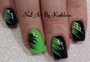 neon green and black nail art #nails