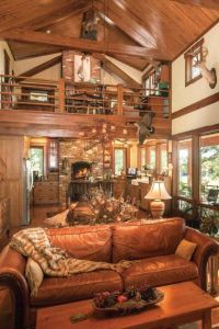 Many cabin style homes have open floor plans and vaulted ...
