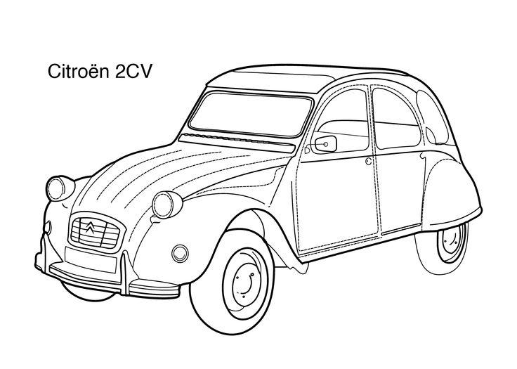 Super car Citroen 2cv coloring page for kids, printable