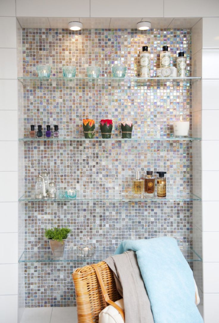 Nice bathroom shelves  Take out medicine cabinets and do this Perfect back splash for my