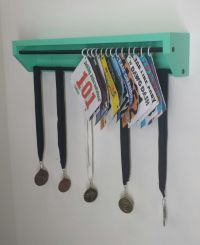 Trendy Running display for race bibs and medals-Aqua. race ...