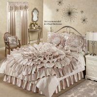 Ruffled Romance Champagne Rosette Comforter Bed Set ...