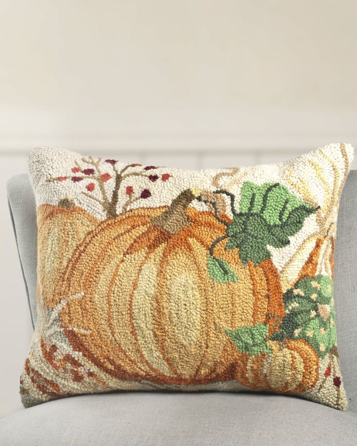 16 x 20 Inch Natures Harvest Hooked Pillow  Balsam Hill