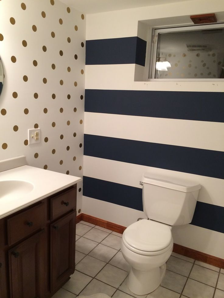 navy stripes  gold polka dots  easy bathroom transformation  From the Blog  Pinterest