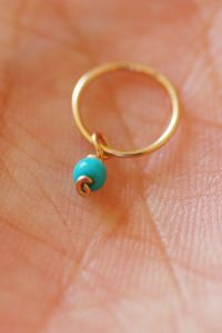 Tiny hoop earring, turquoise hoop, small cartilage earring
