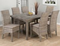 Weathered driftwood grey dining table banana leaf parsons ...