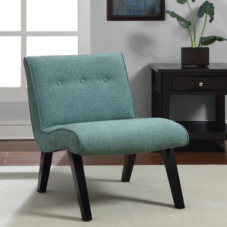 Aqua Armless Tufted Back Chair Blue Fabric  Design