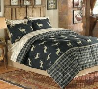 Deer Elk Moose Hunting Cabin Queen Comforter Set (8 Piece ...