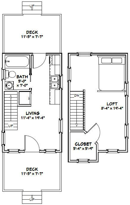 12x20 Tiny Houses PDF Floor Plans 452 sq by