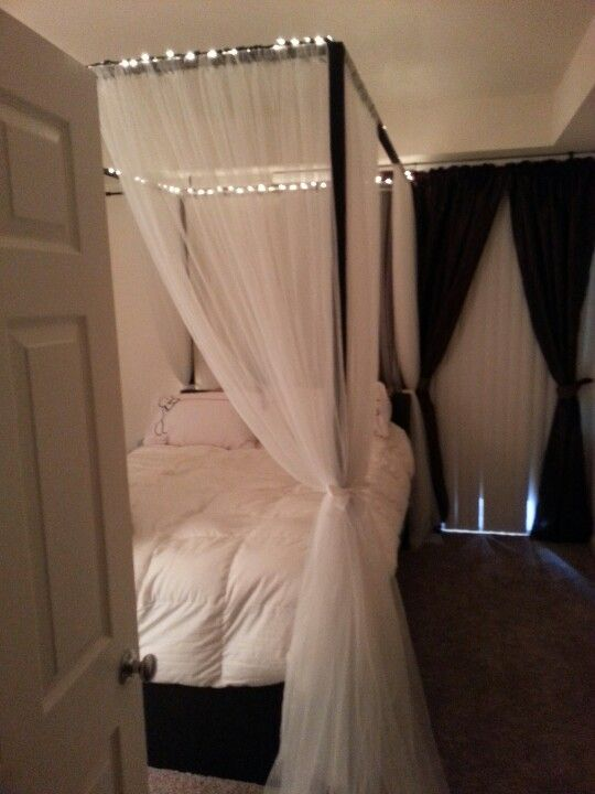 Diy canopy bed with rope lights  Home Goodness  Pinterest  Circles The white and Diy canopy