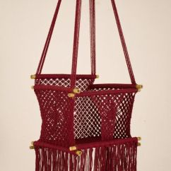 Swing Chair Office Lounge Steel Base Eco Friendly Macrame Baby (for Infant To Child) In Bamboo | Magenta Knots ...