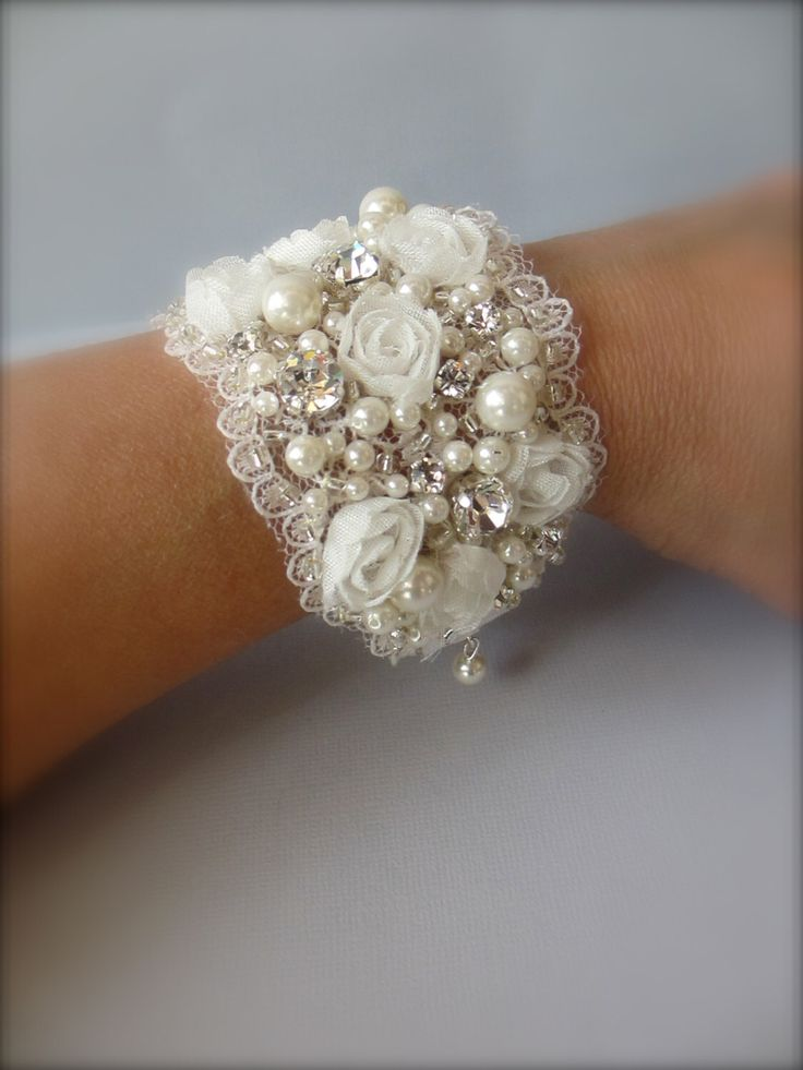 Wedding Cuff Bracelet  Vintage Wide Cuff Bracelet Vintage upcycled wedding material and beads