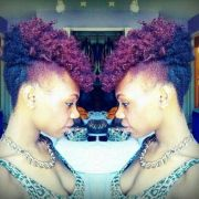 two-toned purple high afro puff