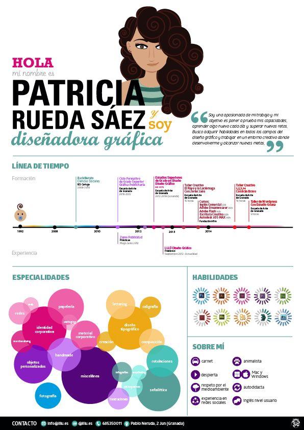 Currículum Infográfico Personal Como Diseñadora Gráfica #